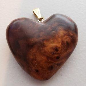 Vintage Wood Heart Pendant